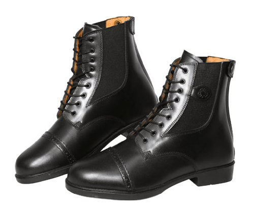 Covalliero 326436 Reitstiefelette Monaco Gr. 41, Glattleder zum Schnüren, schwarz