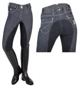 HKM Reithose Miss Blink, Vollbesatz aus Alos Besatz, Damengrösse 38, jeansblau/dunkelblau