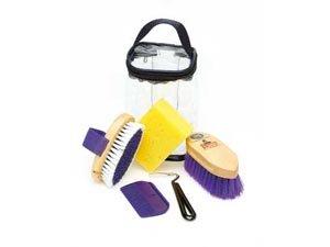 Kinder- Putzset - Lila - Eine praktische Putztasche zur Pferdepflege mit kleineren Bürsten, die geeignet für Kinderhände sind